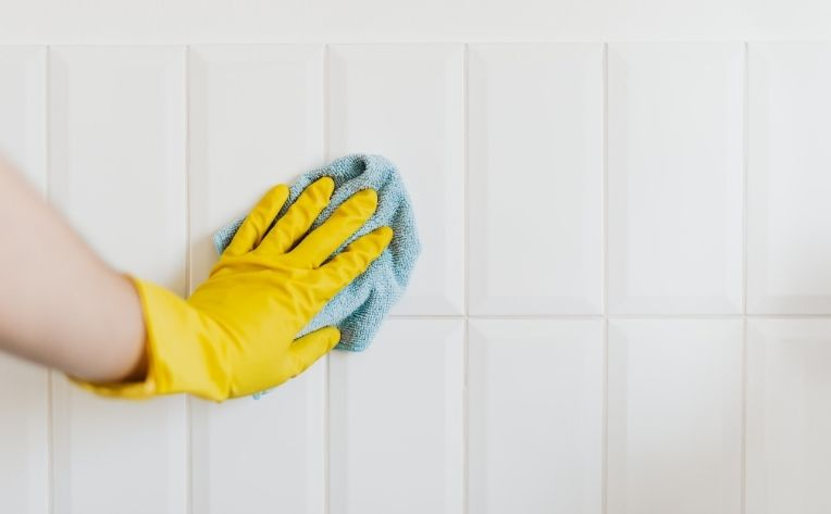 Cleaning Tile Flooring by Hand